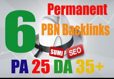 6 Manual DA 35+ PA 25 Dofollow PBN Backlinks
