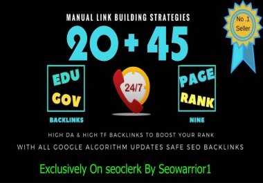 80+ DA 45 PR9 + 20 EDU/GOV high PR safe Permanent Backlinks