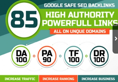 Get 85 Unique Domain SEO Backlinks On DA 40 to Da100 Sites