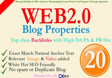 Manually Build 70+ DA Super 20 Web2.0 Blog Propertise to Boost your Ranking