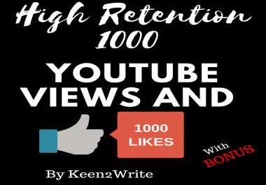 500 YouTube Video Likes + 1000 High Retention Views