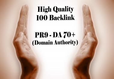 100 PR9 - DA 70+ backlink (Domain Authority)