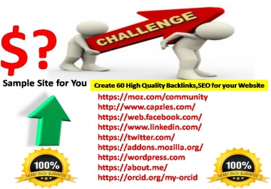 Create 60 High Quality Backlinks,SEO for your Website