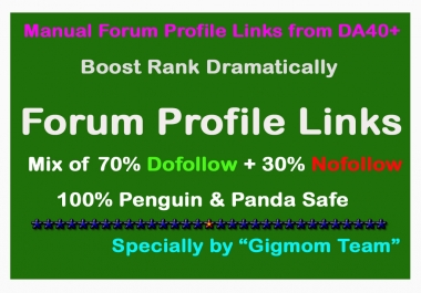 Manual 400 Dofollow & Nofollow Forum Profile Links from DA40+ to Boost Rank