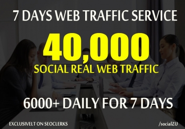 DRIVE 40,000 REAL HUMAN TRAFFIC to your website or blog for 7 days from social media