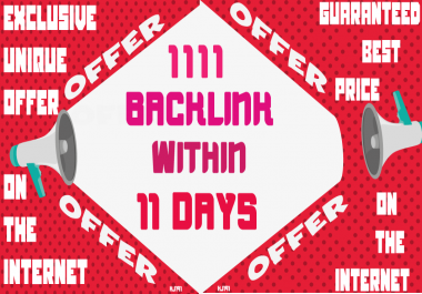 1111 Backlink With Organic Search Traffic , Article Submission , Ping , Indexer
