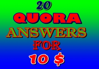 Guaranteed High Quality 20 Quora Answers For Backlink