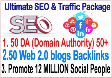 Google Safe SEO & SMM  campaign- 50 PR9 DA Domain Authority Backlinks - Web 2.0 blogs Backlinks-Promotion 12 Million Social people