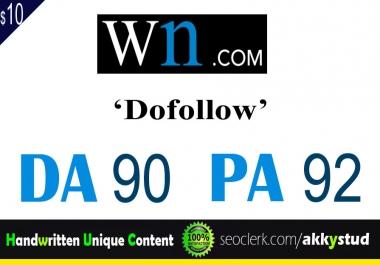 """write and publish UNIQUE guest post on """"WN"""" DA-90"""