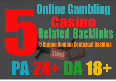 manually do 5 Casino PBN Backlinks from Gambling, Casino sites