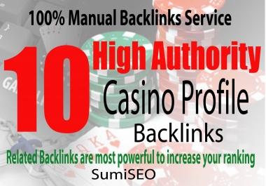 manually do 10 Casino Profile Backlinks from Gambling, Casino sites