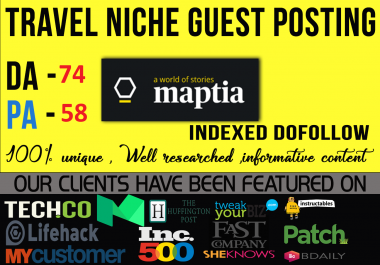 Premium Guest Post on Travel Niche Maptia Da 74 Dofollow [60% Discount]