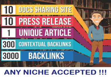10 Press Release, 10 PDF Sites,1 UNIQUE article,300 High Pa Da, 3000 Backlinks