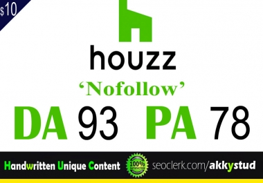 "write and publish UNIQUE guest post on ""Houzz"" DA-44"