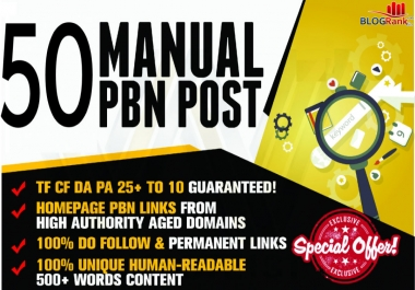 Create 50 High Quality PBN Backlinks With High Metrics