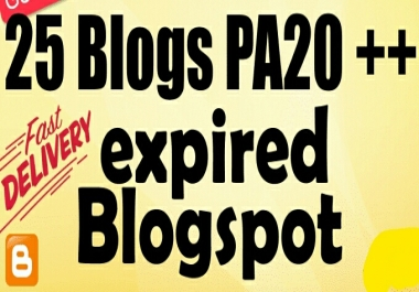 Provide 25 Expired Blogspot PA 20 Above Ready To Register