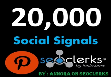 SUPER OFFER 20,000 Pinterest LifeTime USA social Signals benefit To boost Sites SEO Traffic & Shares Bookmarking Backlink Most important Google Ranking influence