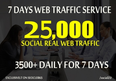 DRIVE 25,000 REAL HUMAN WEB TRAFFIC to your website for 7 days from social media  & search engine
