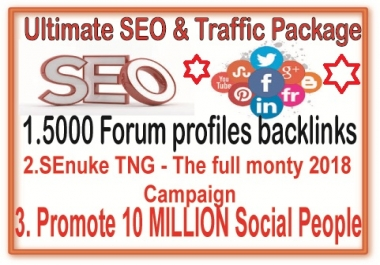 Best SEO & SMM Campaign- 6000 Forum Profiles backlinks-SEnuke TNG The full monty 2018-Promote 11 Million Social members