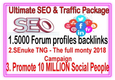 Best SEO & SMM Package- 5000 Forum Profiles backlinks-SEnuke TNG The full monty 2018-Promote 10 Million Social members