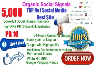 Rocket Delivery 5,000 Real High Quality Social Signals PR10 No1 Social Media Bookmark to Improve SEO and Boost Google Ranking