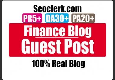 Do Guest Post in PR5 Finance Blog