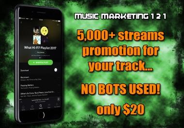 5,000+ / 5000+ / 5k+ Music Platform Listens (NO BOTS)