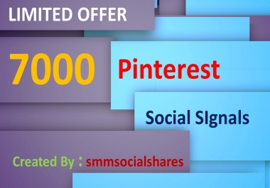 LIMITED OFFER 7,000 Real SEO Social Signals PR9 Pinterest Share No1 Social Media Bookmark