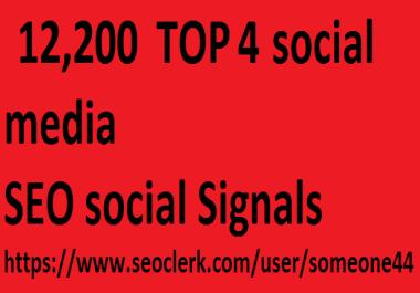 12,200 TOP 4 social media Real SEO Social Signals Pack
