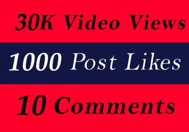 World Wide 30K Video Views Promotion Or 1000 Likes Or 10 Comments for Social media Marketing