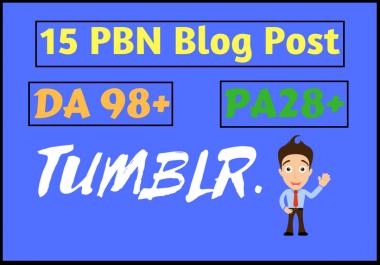 provide you 15 Tumblr DA 98 PA 30+ PBN Permanent Backlinks