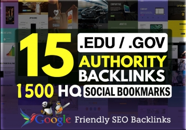 15 .EDU .GOV + 1500 HQ Social Bookmarking Backlinks