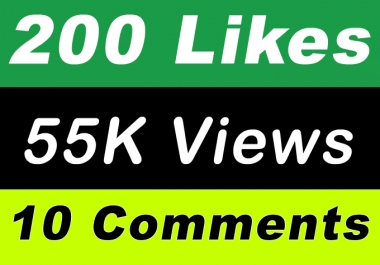 World Wide 55,000 Video Views Promotion Or 200 Likes Or 10 Comments for Social media Marketing