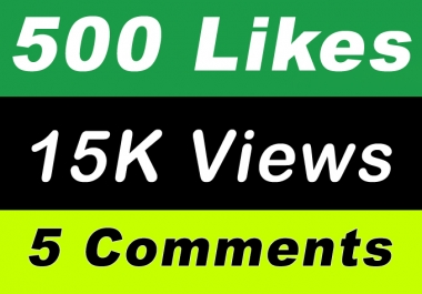 World Wide 15,000 Video Views Promotion Or 500 Likes Or 5 Comments for Social media Marketing