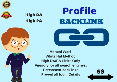 Provide 60 authority High DA, PA profile Backlinks for your website