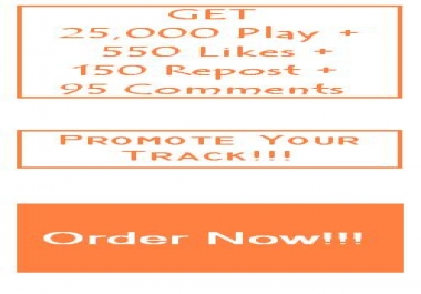 GET 25,000 Play + 550 Likes + 150 Repost + 95 Comments
