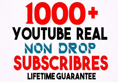 GET Real 1000+ YouTube Subscribers LIFETIME NON DROP GUARANTEE