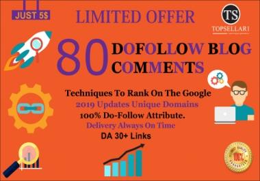 Create 80 High Quality Dofollow Blog Comments Backlinks  DA 30+ Links