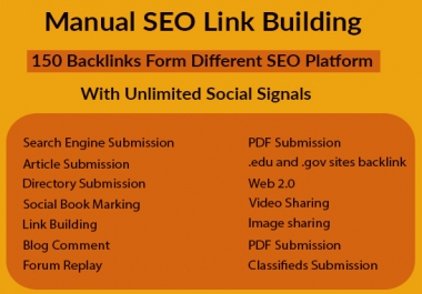 Provide All in One Manual SEO Link Building and Social Media Marketing Package