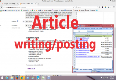 High PR site Article writing/posting