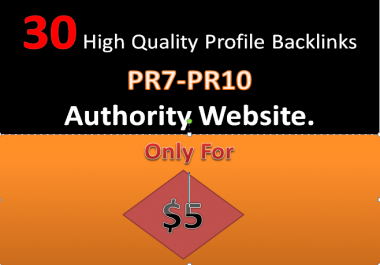 30 High quality profile back-links PR7-PR10 on your site