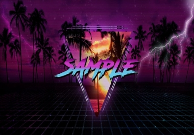 Make an 80s style banner, logo, and wallpaper