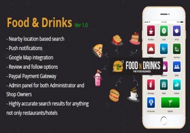 Hotels And Restaurants Finder App - Website & Native Android script