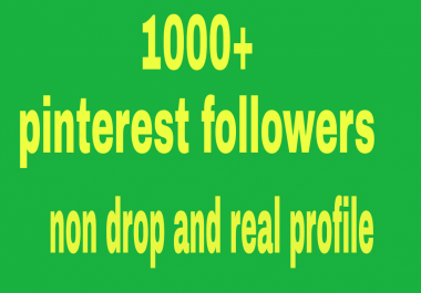 1000+  high quality  pinterest followers  non drop and real world wide followers