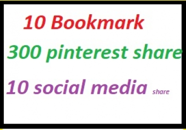 20 Bookmark+200 pinterest share +15 social media share