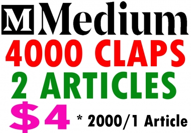Buy 4000 Medium Claps on 2 Articles (2000Claps/1Article)