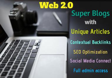 Create 20 Super Web 2.0 SEO Blogs with Unique Articles, Contextual Backlinks