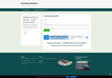 Currency converter web site with all currencies of the world