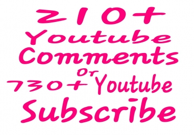 210+ You tube Comments or 730+Chanel Subscribers with supper fast delivery within 12-24 hours.