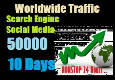 50000 Worldwide traffic from Search engine and social media